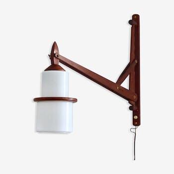 Wall lamp scandinavian vintage teak and opaline