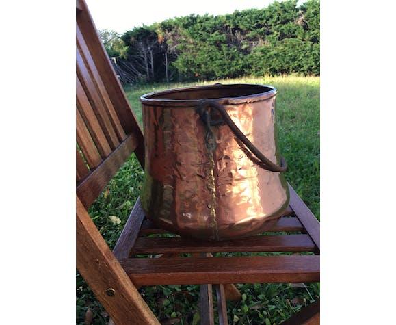 Cache pot ancien en cuivre