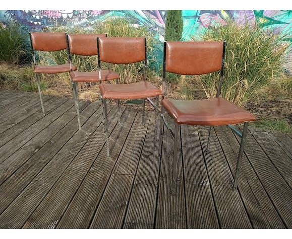 Set de 4 chaises skaï et chrome