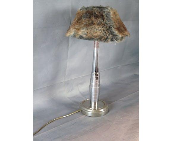 Lampe en métal chromé avec abat jour à poils | Selency