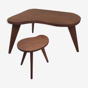 Tables basse teck massif design scandinave 1950 vintage forme libre 1960