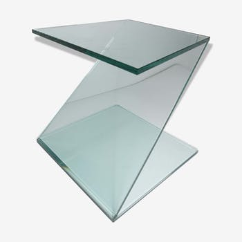 Table d'appoint verre trempé forme en Z