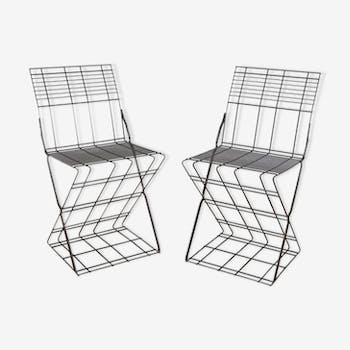 Paire de chaises italiennes en acier