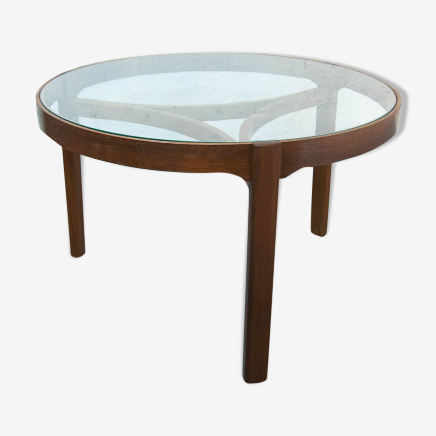 Table basse tripode vitrée 82cm