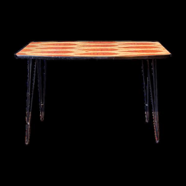 Table basse 1950 métal et bois