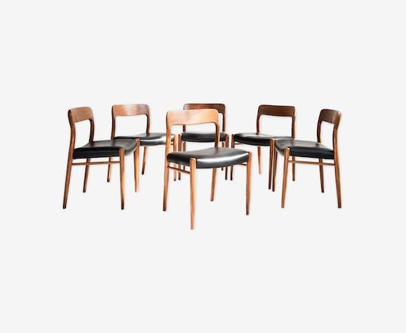Set de 6 chaises en teck et cuir par Møller