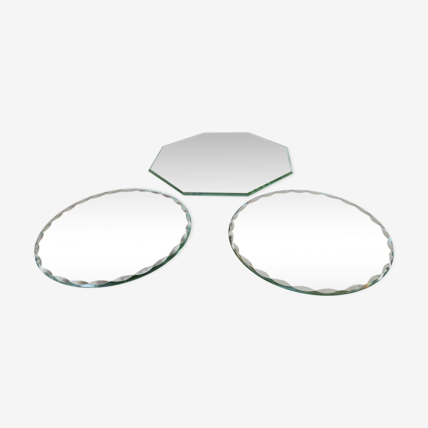 Série de 3 miroirs biseautés années 50 - 14x14cm