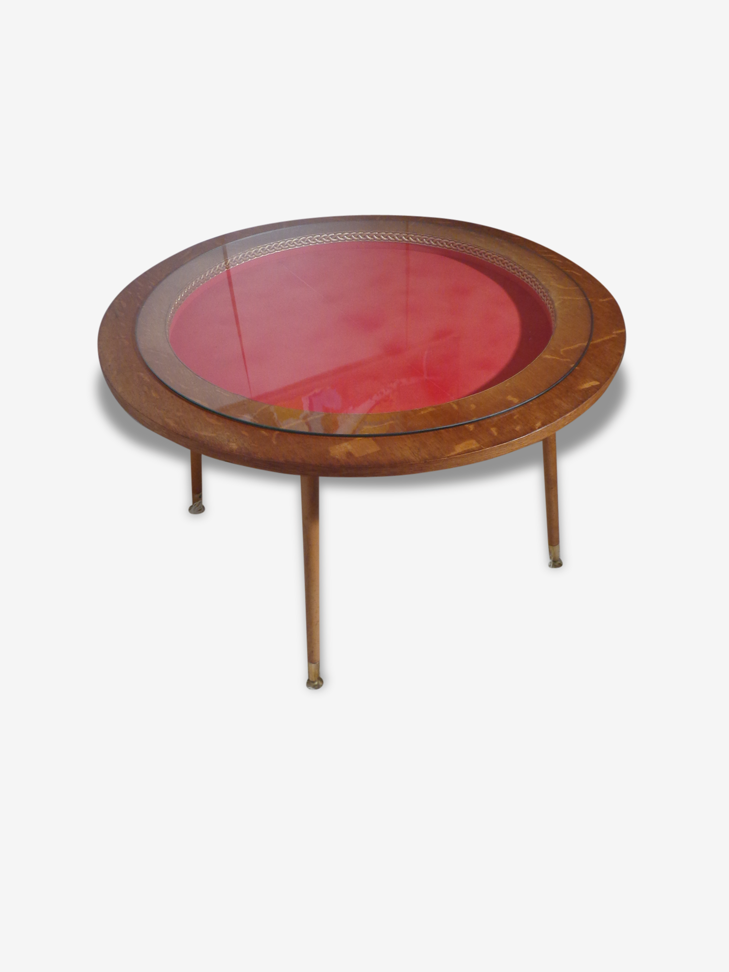 Originale table basse ronde vintage des années 60  ou table de jeux de jeux pieds compas