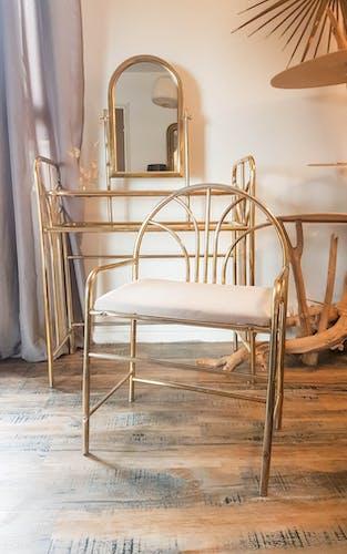 Coiffeuse doré style art déco vintage mid century