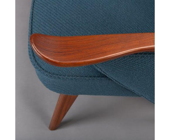 Danish reupholstered blue sofa par Johannes Andersen pour cfc Silkeborg, années 1960