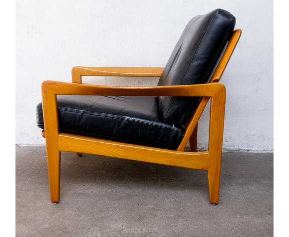 1960s cherry and leather armchair