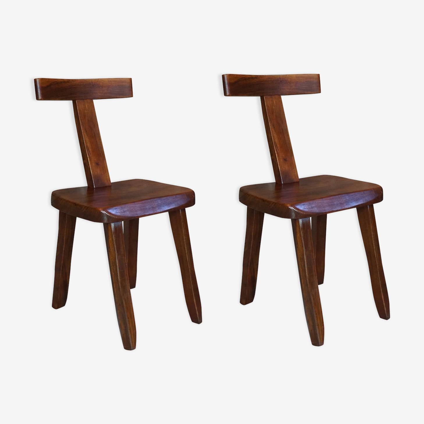 """Paire de """" t chairs """" design années 50 par Olavi Hanninen pour Mikko Nupponen"""