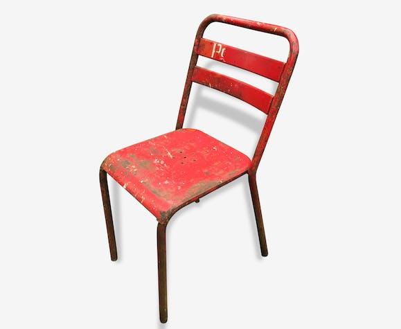 chaise m tal tolix ancienne m tal rouge industriel 17096. Black Bedroom Furniture Sets. Home Design Ideas