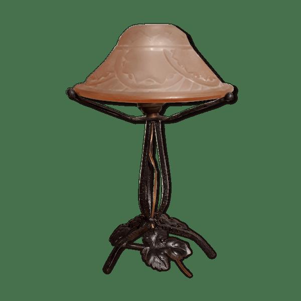 Lampe fer forge ancien abat jour en verre moule 1920 | Selency