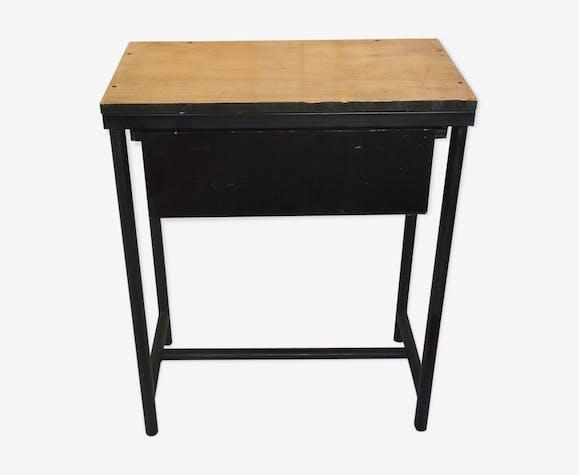 Bureau établi vintage années 50 bois et acier métal noir