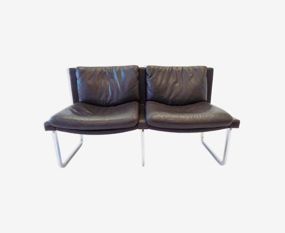 Canapé en cuir brun foncé De Sede RH 201 de Robert Haussmann