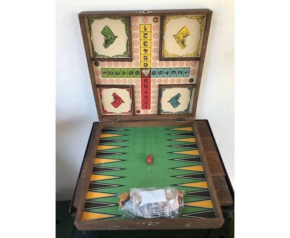 Ancien plateau de jeux en bois vintage