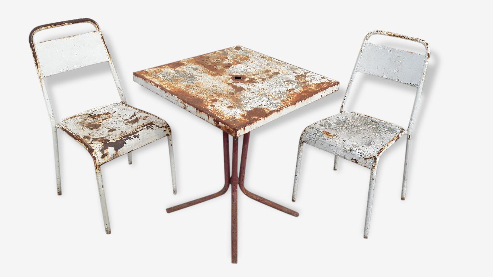 Lot 2 chaises + table de jardin bistrot vintage 1940/50