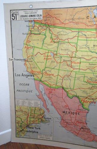 School map United States Vidal Lablache 60's
