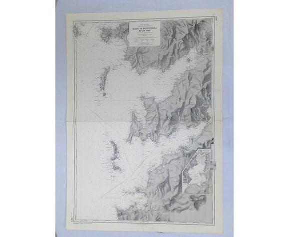 Carte marine ancienne baie de Vigo en Espagne