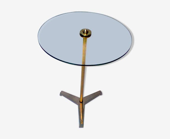 Table d'appoint en verre et bronze