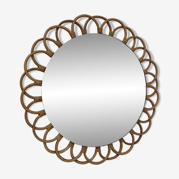 Rattan mirror from the 1960s