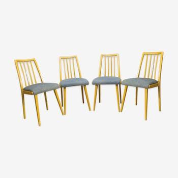 Ensemble de 4 chaises Tchécoslovaques vintage produites par Up Zavody 1970
