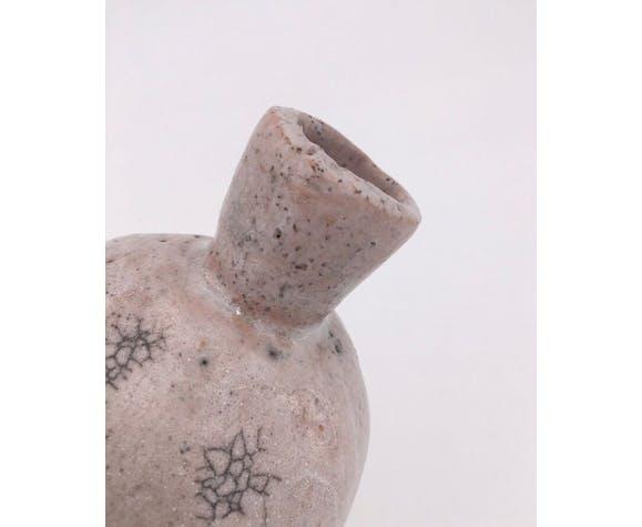 Raku ball vase, beige pink 20th century
