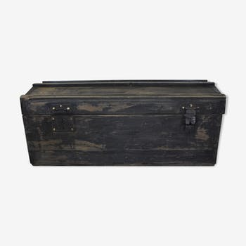 Old black patina wooden trunk
