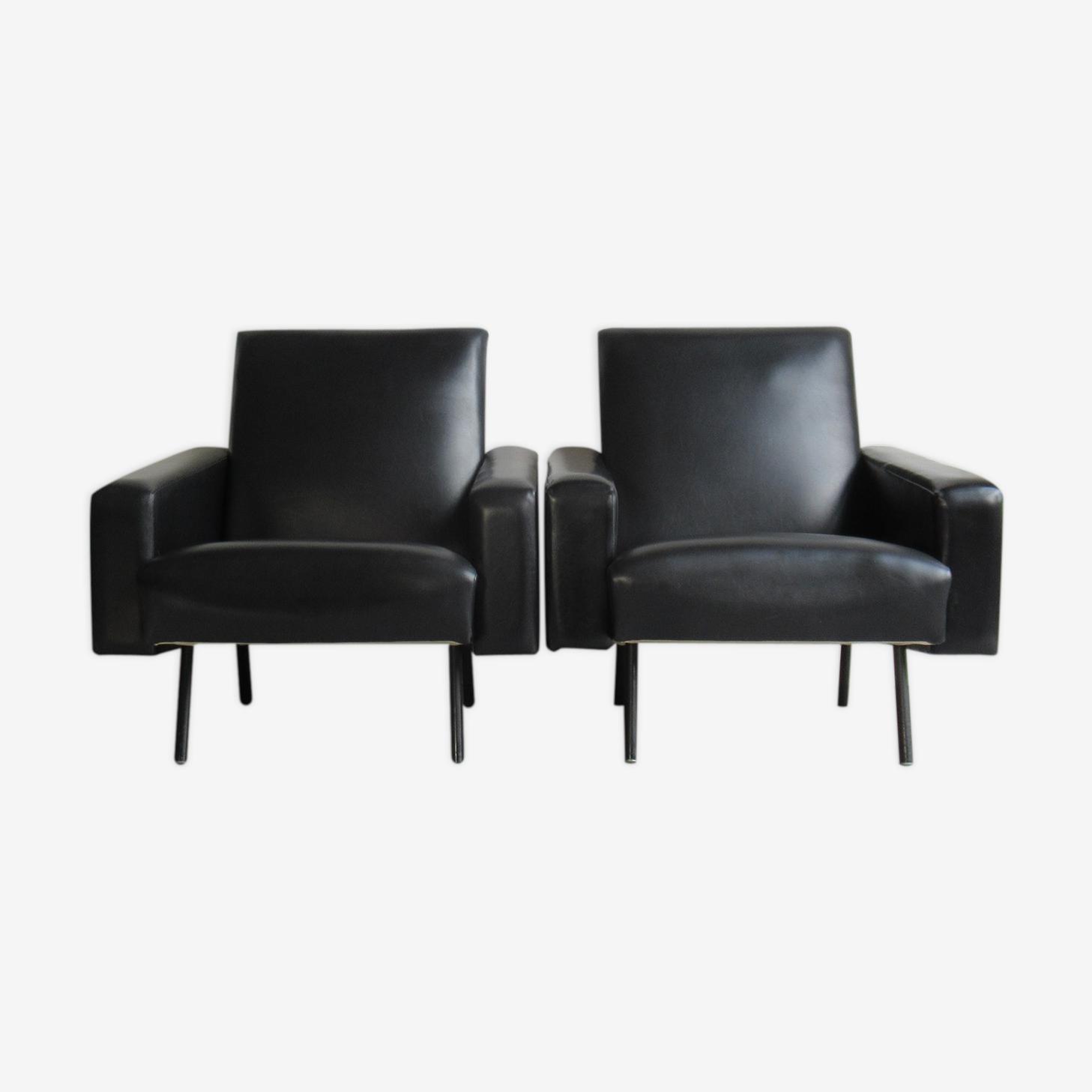 """Paire de fauteuils """"Mexico"""" de Pierre Guariche pour Meurop 1960s"""