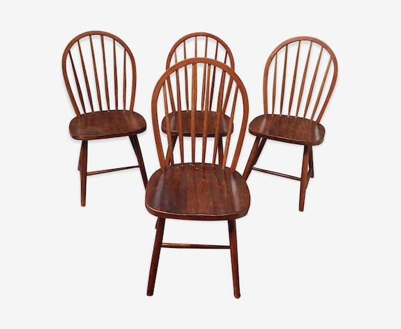 Lot de 4 chaises à barreaux scandinaves années 60