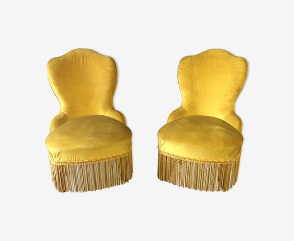 Set of 2 old gold toad armchairs