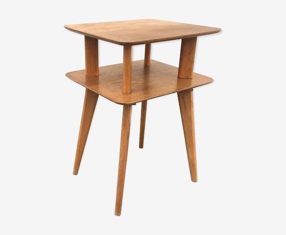 Table d'appoint en bois 2 plateaux 1960