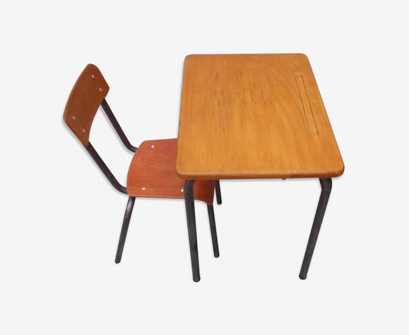 Bureau d'écolier et sa chaise années 60