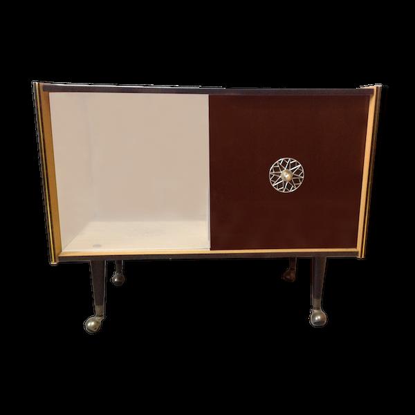 Meuble bar avec vitrine sur roulettes vintage années 60-70