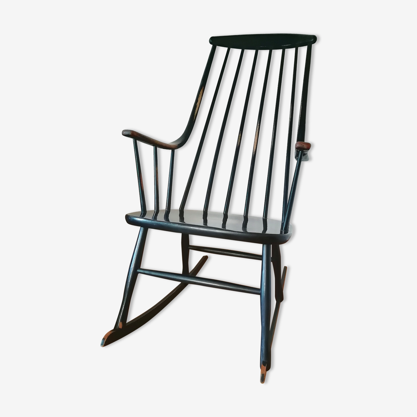 Scandinavian Grandessa black rocking chair by Lena Larsson