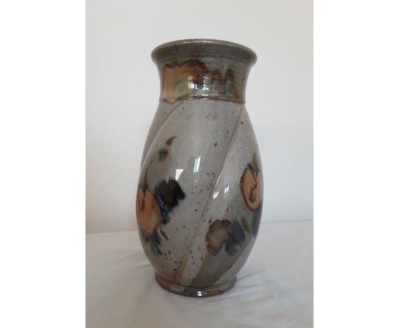 Vase grès signé