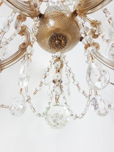 Lustre cage Marie Thérèse en cristal de Bohème 1920/40' 6 feux