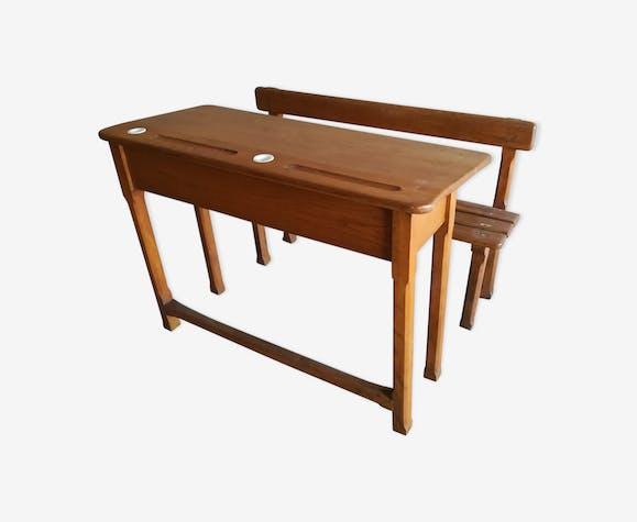 pupitre d 39 colier avec banc et encriers bois mat riau marron vintage xqzfqrd. Black Bedroom Furniture Sets. Home Design Ideas