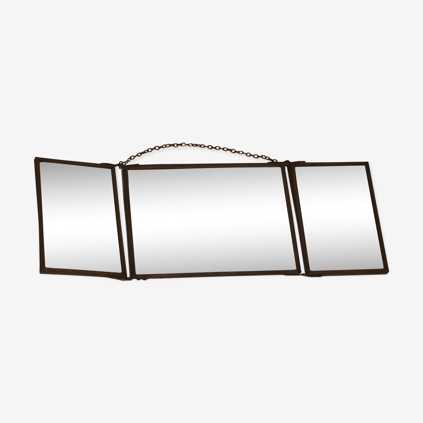 Miroir triptyque ancien 15 x 42 cm