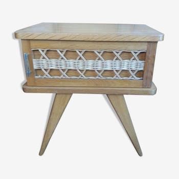Vintage rattan feet compass bedside table