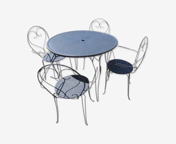 Salon de jardin - métal - noir - classique - tYNcEtZ