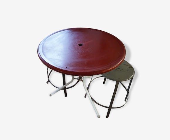 Table de jardin - métal - rouge - vintage - 136571