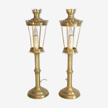 Paire de lampes bougeoirs