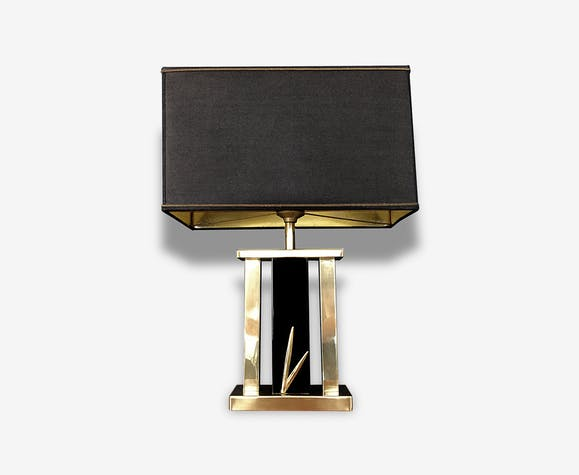 lampe poser de salon louis drimmer noire et or 1970. Black Bedroom Furniture Sets. Home Design Ideas