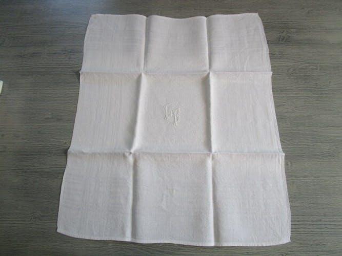 12 large old damask towels, monogrammed:60x50cm