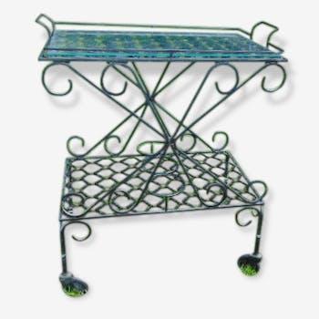 desserte bar en marqueterie et laiton bois mat riau marron classique 150675. Black Bedroom Furniture Sets. Home Design Ideas