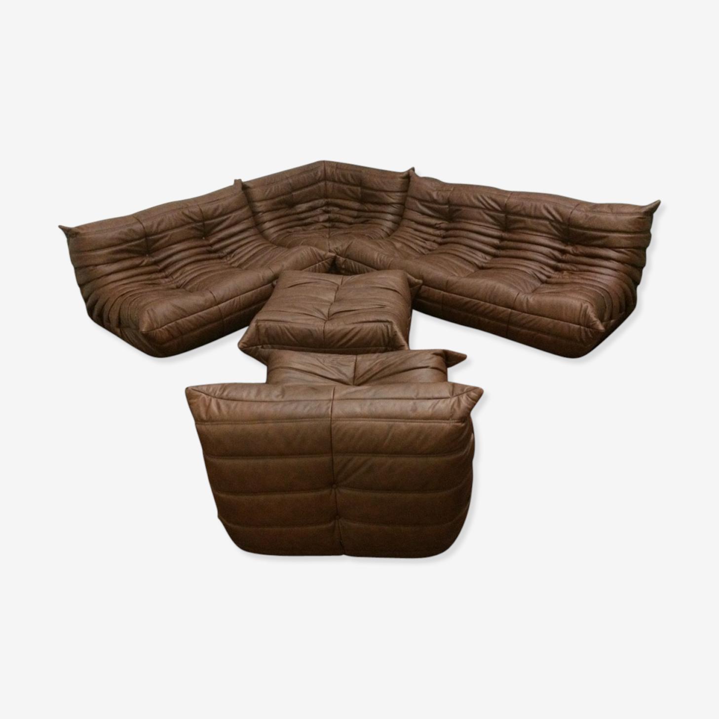 """Set de canapé """"Togo"""" en cuir par Michel Ducaroy pour Ligne Rose"""