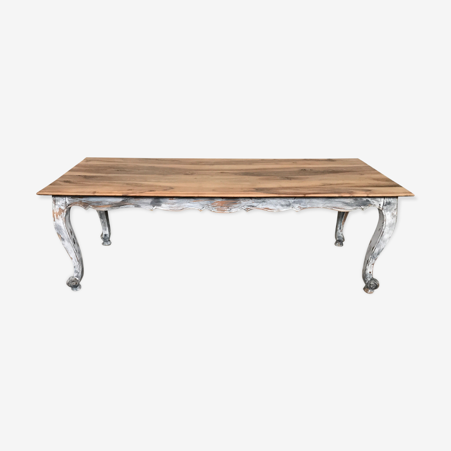 Table en noyer massif patinée shabby chic