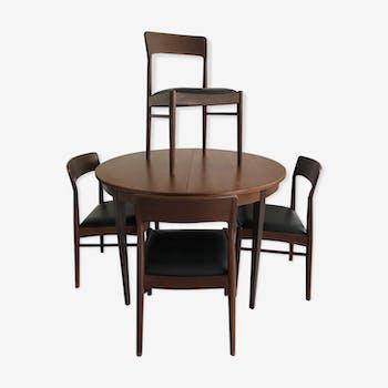 Table et 4 chaises Danoises KS Möbler Henning  Kjaernulf